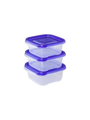 Набор из 3-х квадратных контейнеров XEONIC CO LTD. Цвет: синий, прозрачный