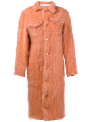 Однобортное вязаное пальто Faustine Steinmetz. Цвет: жёлтый и оранжевый
