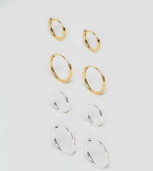ASOS Серебряные серьги-кольца с покрытием. Цвет: серебряный