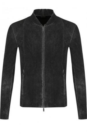 Кожаная куртка на молнии с потертостями Emporio Armani. Цвет: темно-серый