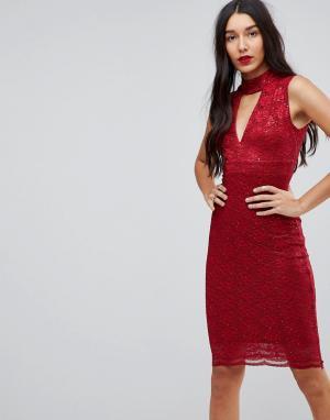 Jessica Wright Облегающее платье с чокером. Цвет: красный