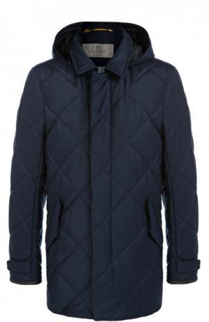 Стеганая куртка с капюшоном Canali. Цвет: темно-синий