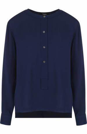 Шелковая блуза с воротником-стойкой Theory. Цвет: синий