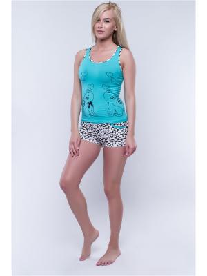 Пижама NICOLETTA. Цвет: бирюзовый