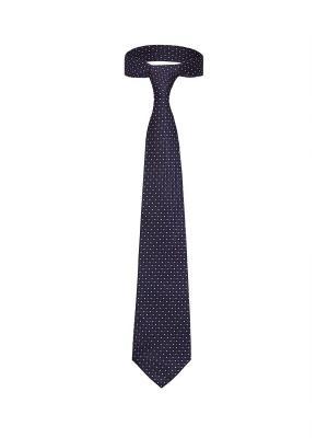 Классический галстук Дело в Нью Йорке с оригинальным принтом Signature A.P.. Цвет: темно-синий, белый, коралловый