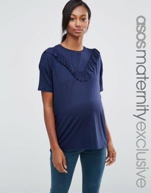 ASOS Maternity Футболка для беременных с рюшами. Цвет: синий