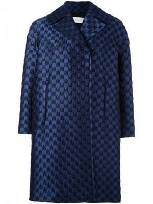Пальто из парчи Gianluca Capannolo. Цвет: синий