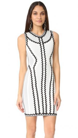 Платье Imaan с зигзагами Herve Leger. Цвет: алебастр, комбинированный