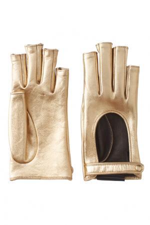 Перчатки из металлизированной кожи Gucci. Цвет: золотой