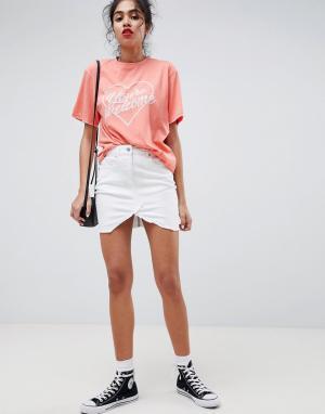 Parisian Джинсовая мини-юбка. Цвет: белый