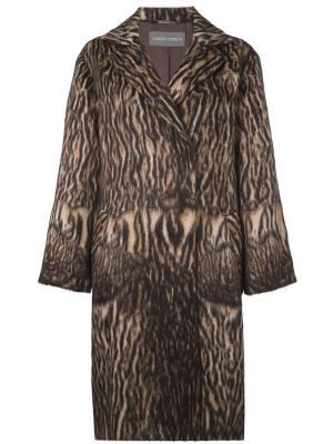 Пальто животной расцветки Alberta Ferretti. Цвет: чёрный