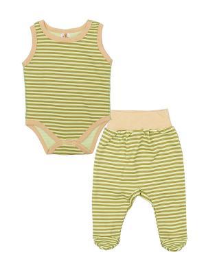 Комплект одежды: боди-майка, ползунки Коллекция Лёва КОТМАРКОТ. Цвет: светло-зеленый