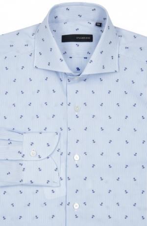 Свободная рубашка с принтом и воротником акула Stanbridge. Цвет: голубой