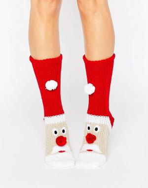Loungeable Толстые вязаные носки с новогодним дизайном Santa. Цвет: красный