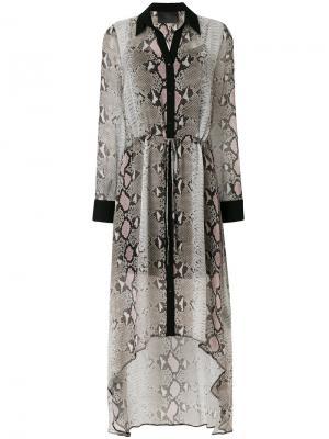 Длинное платье-рубашка Sullivan Goldie Philipp Plein. Цвет: телесный