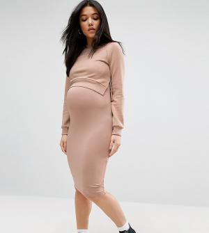 ASOS Maternity - Nursing Двухслойное трикотажное платье для беременных и кормящих Maternit. Цвет: розовый