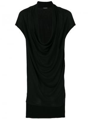 Драпированная футболка Balmain. Цвет: чёрный