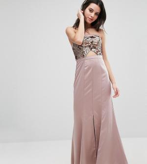 True Decadence Petite Платье-бандо макси с вырезом на лифе. Цвет: золотой