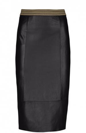 Кожаная юбка Ottodame Ottod'ame. Цвет: черный