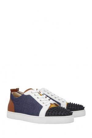 Комбинированные кеды Louis junior spikes flat Christian Louboutin. Цвет: черный, оранжевый, белый
