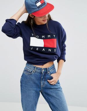 Tommy Jeans Свитшот с большим логотипом. Цвет: темно-синий
