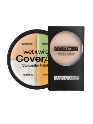 Набор № 85 корректор 4 тона + пудра coverall Wet n Wild. Цвет: прозрачный, бежевый, зеленый, розовый