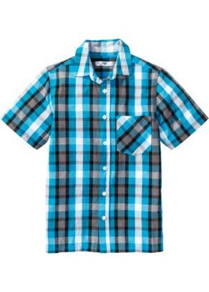 Клетчатая рубашка с принтом (нежно-бирюзовый/черный) bonprix. Цвет: нежно-бирюзовый/черный