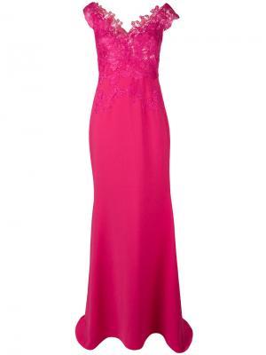 Кружевное длинное платье Rhea Costa. Цвет: розовый и фиолетовый