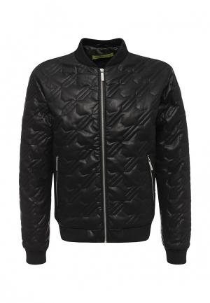 Куртка кожаная Versace Jeans. Цвет: черный