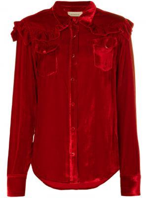 Рубашка с длинными рукавами и оборками Laneus. Цвет: красный