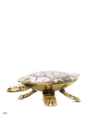 Шкатулка Черепаха латунь цветная эмаль ETHNIC CHIC. Цвет: золотистый, синий, зеленый, серо-зеленый, красный