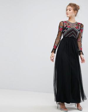 Frock and Frill Премиум-платье макси с длинными рукавами и вышивкой. Цвет: черный