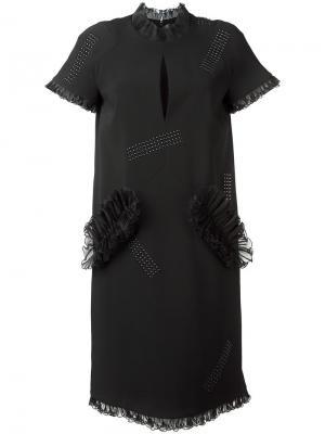 Платье с рюшами и заклепками Christopher Kane. Цвет: чёрный