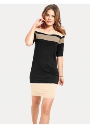 Платье B.C. BEST CONNECTIONS by Heine. Цвет: экрю/серо-коричневый, ярко-розовый/оранжевый