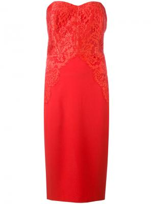 Кружевное коктейльное платье Rhea Costa. Цвет: красный