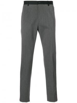 Брюки с контрастными полосками Gabardine Dolce & Gabbana. Цвет: серый