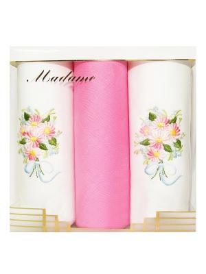 Платки нос. женские по 3 шт.х/б ZLATA KORUNKA. Цвет: белый, розовый