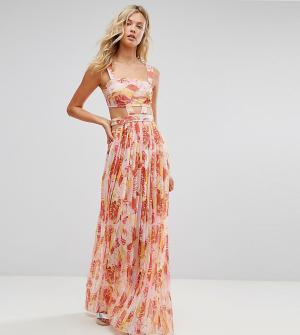ASOS Tall Розовое пляжное шифоновое платье с вырезами и пальмами. Цвет: мульти