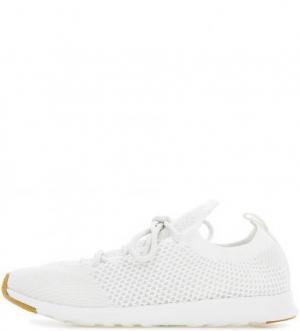 Белые текстильные кроссовки на шнуровке Native. Цвет: белый