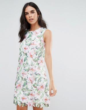 Uttam Boutique Кружевное платье А-силуэта с цветами. Цвет: мульти