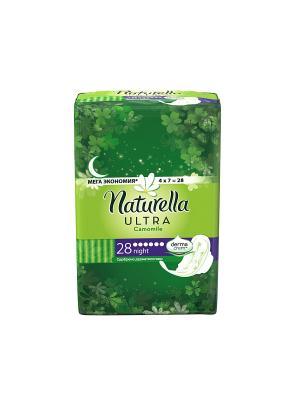 Женские гигиенические прокладки Camomile Night Single, 28шт NATURELLA. Цвет: салатовый