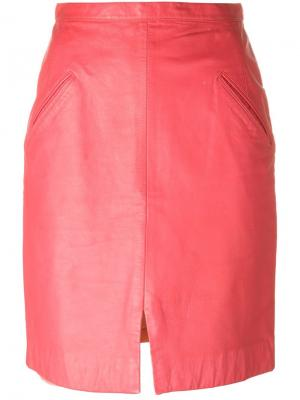 Кожаная юбка Stephen Sprouse Vintage. Цвет: розовый и фиолетовый