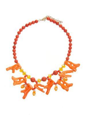 Колье Gusachi. Цвет: оранжевый, белый