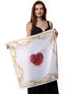 Платок 70х70 шелк Рубиновое сердце в золотых цепях SEANNA. Цвет: молочный