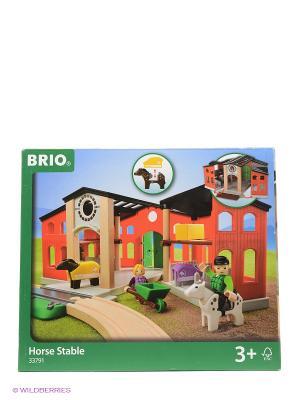 BRIO игровой набор с конюшней,2 лошадки,2 фигурки  33791. Цвет: красный
