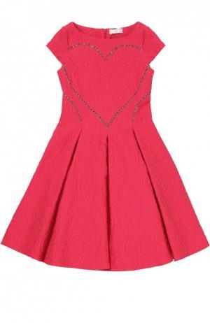 Приталенное платье с фактурной отделкой Monnalisa. Цвет: бордовый
