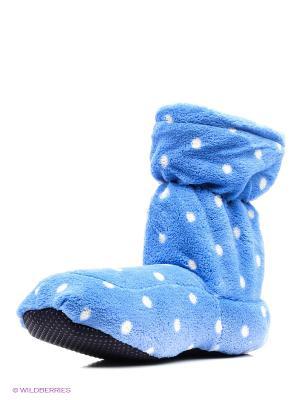 Сапожки-грелки синие в горох Warmies. Цвет: синий