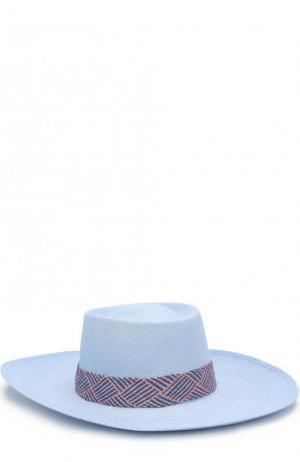 Соломенная шляпа с плетеной лентой Artesano. Цвет: голубой
