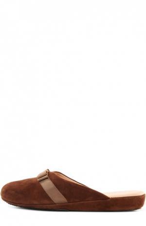 Замшевые домашние туфли с бантом Homers At Home. Цвет: коричневый