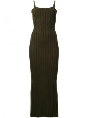 Длинное вязаное платье Mm6 Maison Margiela. Цвет: зелёный